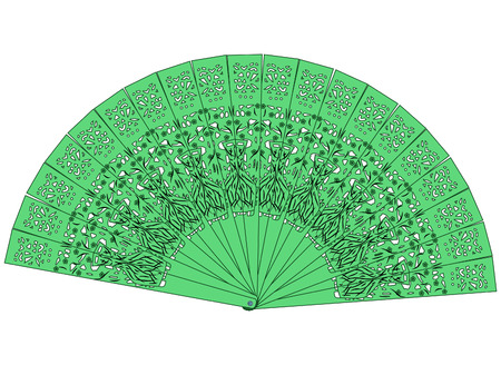 paper fan: The green fan isolated on a white background