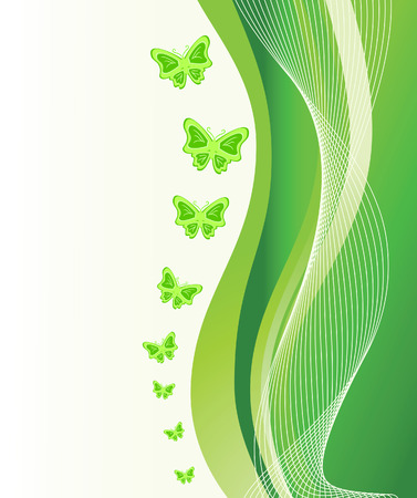 Abstract green background with butterflies. Vector illustration