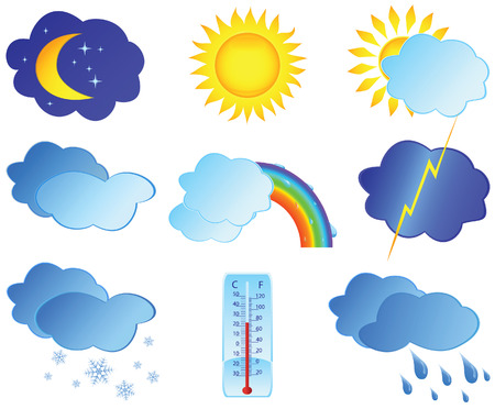sunny cold days: Icons with images weather. Vector illustration