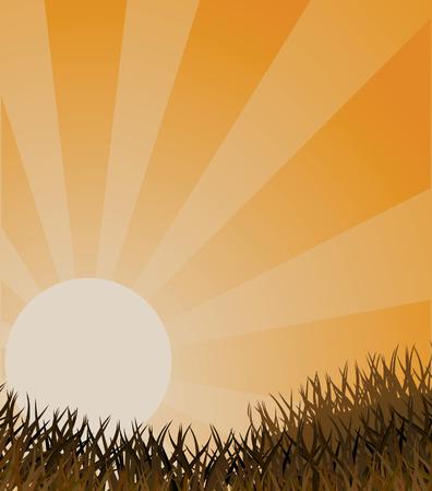 Autumn landscape in orange colour. Vector illustration