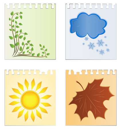 Leaves of a calendar with the image of seasons Vector