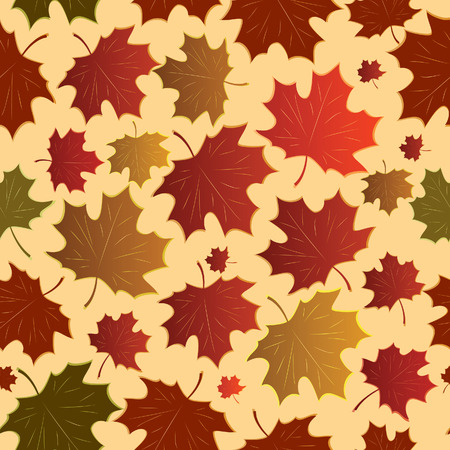 Seamless a background with maple leaves. Vector illustration Stock Vector - 5397147
