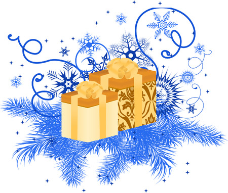 Gift box with snowflakes and pine branches. Vector illustration Stock Vector - 5491615
