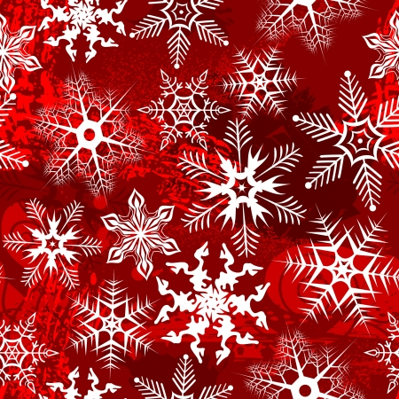 Red background with snowflakes. Vector illustration