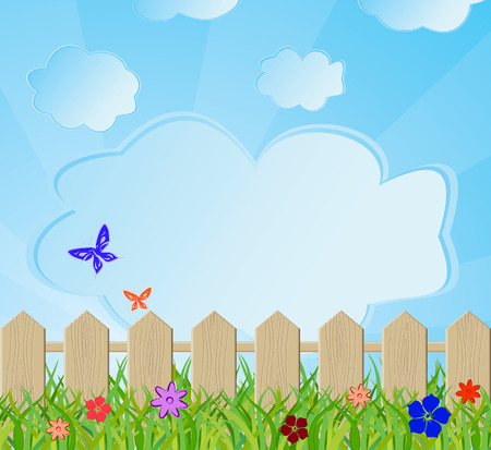 family gardening: Ecological background with a fence. Vector illustration