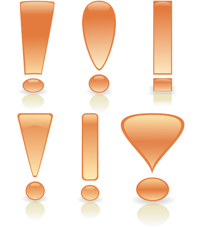 Collection of exclamation marks in gold colour. Vector illustration Stock Vector - 5680006