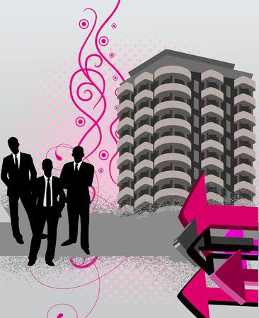 City - grunge background. Vector illustration Stock Vector - 5901212