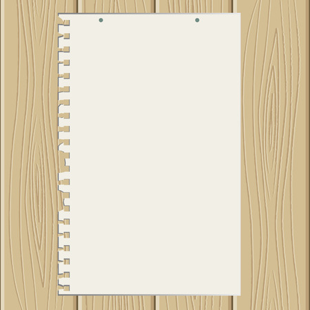 The torn off sheet of paper on wooden structure Stock Vector - 5901215