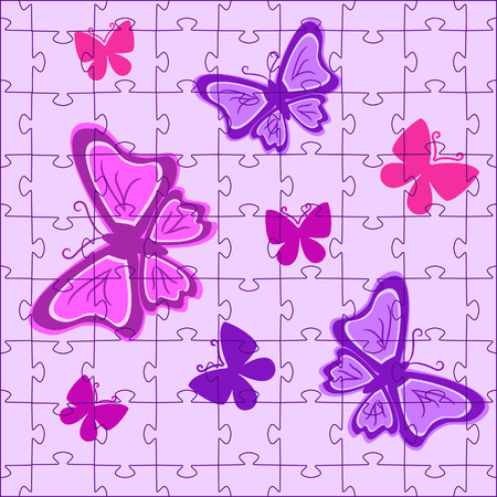 Puzzles with butterflies in pink colour. Vector illustration Stock Vector - 5901209