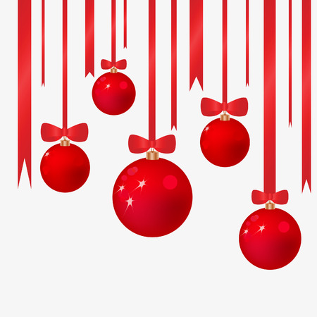 dangling: Christmas background with fur-tree spheres. Vector illustration