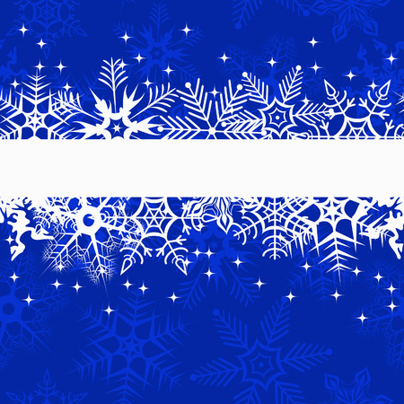 Blue winter banner with snowflakes. Vector illustration