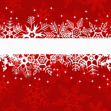Red winter banner with snowflakes. Vector illustration