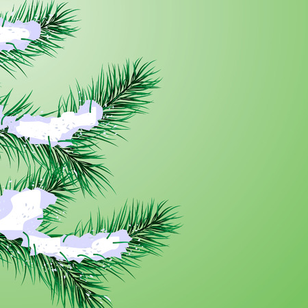 Abstract background with pine branches and snow Illustration