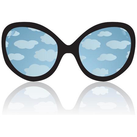 cornea: Sun occhiali con riflessione del cielo e nuvole. illustrazione vettoriale Vettoriali