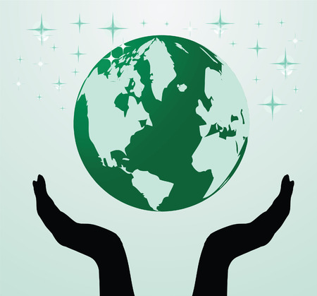 Vector illustration of the hands holding globe Stock Vector - 6197624