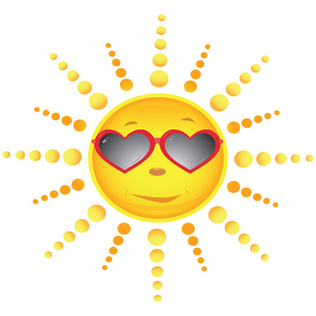 Sun in the sun glasses executed in the form of hearts. Vector illustration Vector
