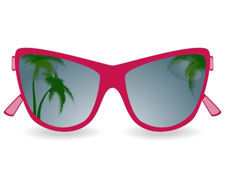reflexion: Gafas de sol con la reflexi�n de palmeras. ilustraci�n vectorial