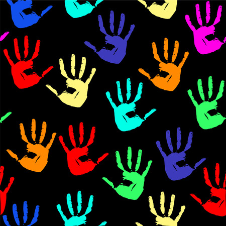 Seamless background with multi-coloured prints of hands. Vector illustration