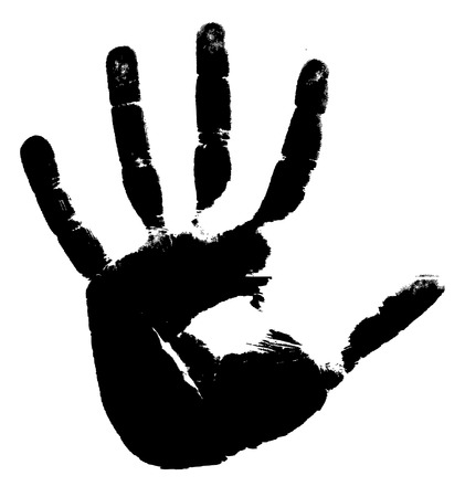 a print: Black print of a hand on a white background. Vector illustration