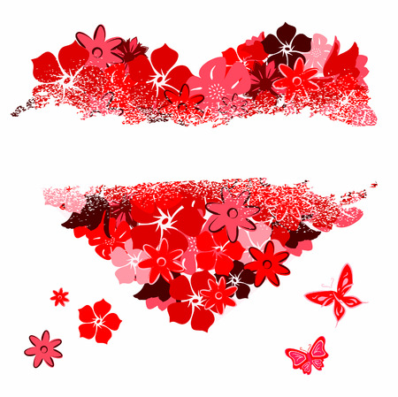 The torn heart from florals. Vector illustration Vector