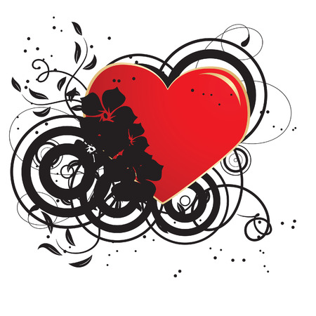 Red heart in a black flower ornament. Vector illustration Vector