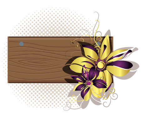 Wooden framework with flowers. Vector illustration Stock Vector - 6327421