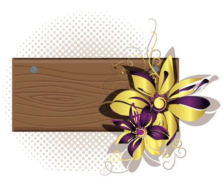 Wooden framework with flowers. Vector illustration Stock Vector - 6327421