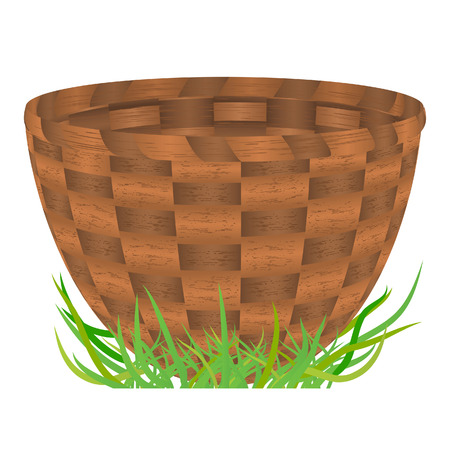 empty basket: Empty basket standing on a green grass. Vector illustration