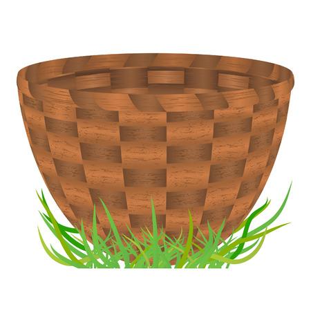 Empty basket standing on a green grass. Vector illustration Vector