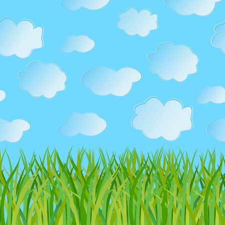 Abstract seamless a background with a grass and the sky. Vector illustration Stock Vector - 6388815