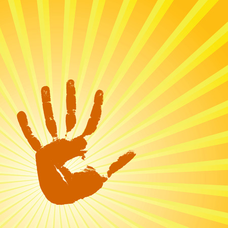hand print: Hand print on a solar background. Vector illustration