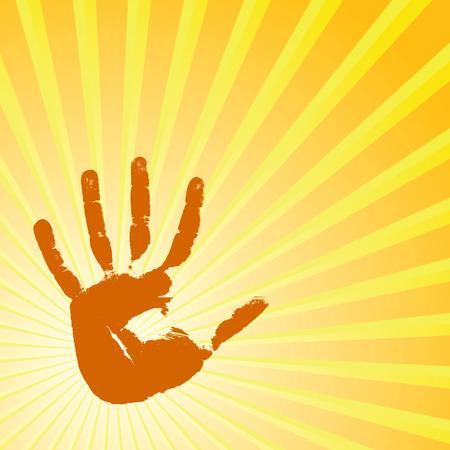manos abiertas: Impresión sobre un fondo solar de mano. Ilustración vectorial