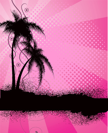 liana: Pink  background with palm trees. Vector illustration