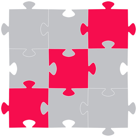 jig: Multi-coloured puzzles on a white background.
