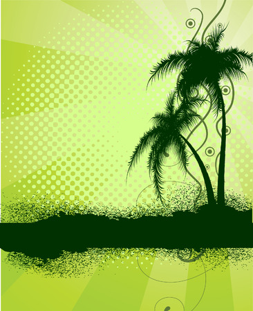 Green background with palm trees. Vector illustration Stock Vector - 6517173