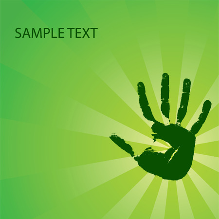 Ecological background with a hand print. Vector illustration