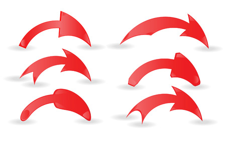 turning point: Set of red arrows on a white background