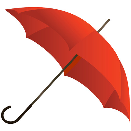red umbrella: The red umbrella represented on a white background