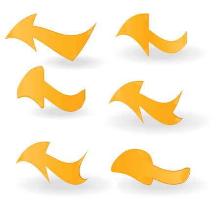 Set of orange arrows on a white background Vector