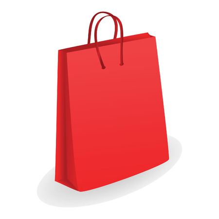 paper delivery person: Red shopping bag. Vector illustration