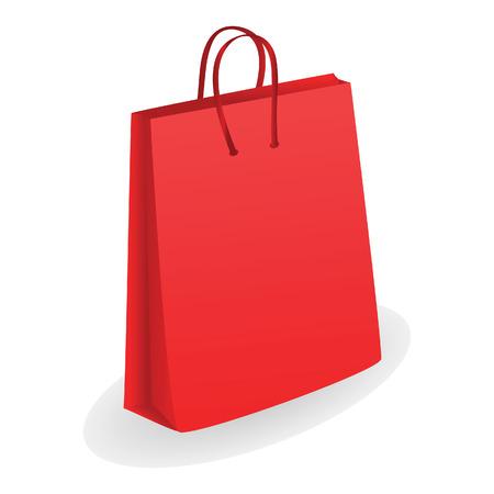 Red shopping bag. Vector illustration