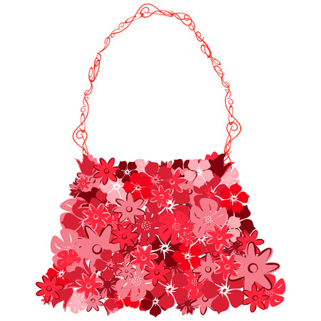 Female bag from red florets on a white background