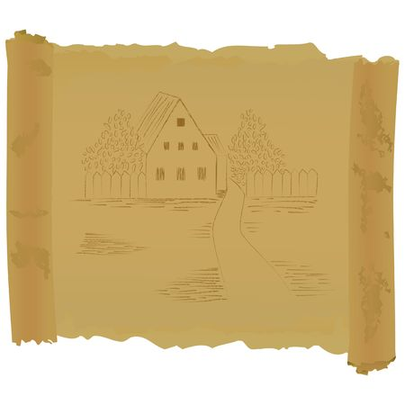 Old scroll with house drawing. Raster version photo