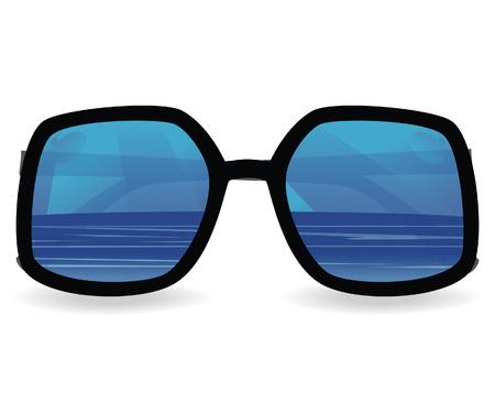 glamur: Sun glasses with sea reflexion. vector illustration