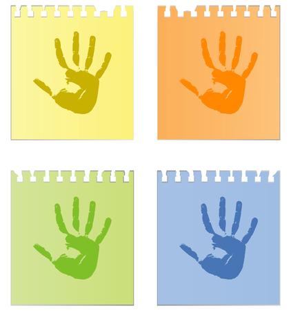 vieze handen: Afdrukken van handen op vellen papier Stock Illustratie