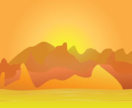 The image of desert and mountains on a distant background. Vector illustration Vector