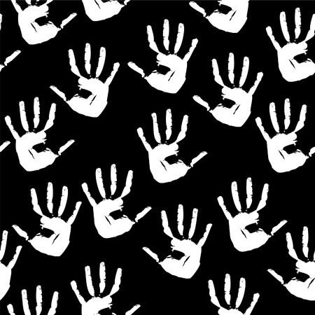 Seamless a background with white prints of hands. Vector illustration