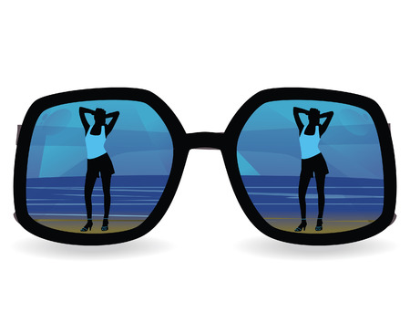 The girl against the sea, reflected in sun glasses Vector