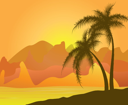 Two palm trees against mountains and sand.