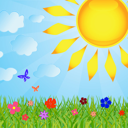 Summer background with the sun and a grass Vector